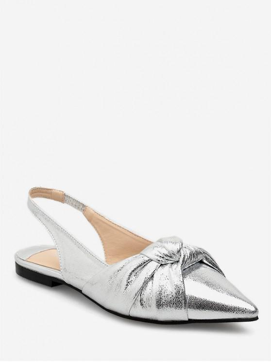 fancy Ankle Strap Pointed Toe Flat Sandals - SILVER EU 36