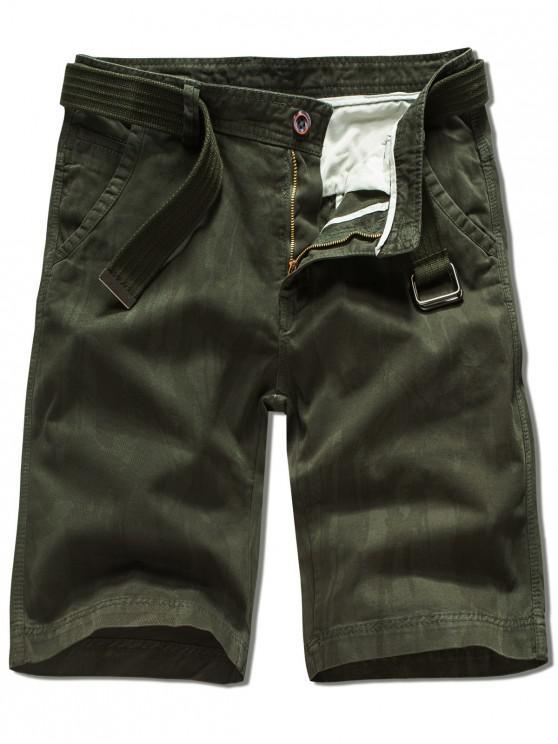 Zipper Fly pantalones cortos de color sólido - Ejercito Verde 38