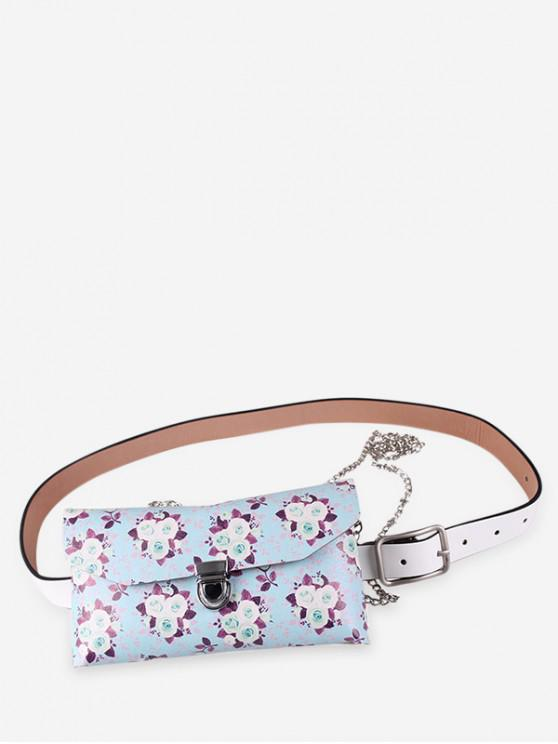 best Floral Print Adjustable Fanny Pack - ROBIN EGG BLUE
