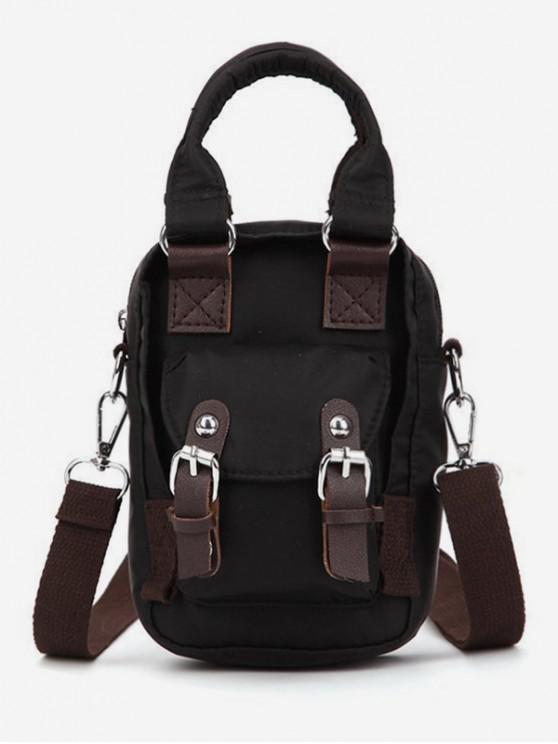 unique Double Buckle Design Crossbody Bag - BLACK