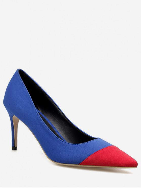 women Color Block Decoration Stiletto Heel Pumps - BLUE EU 39