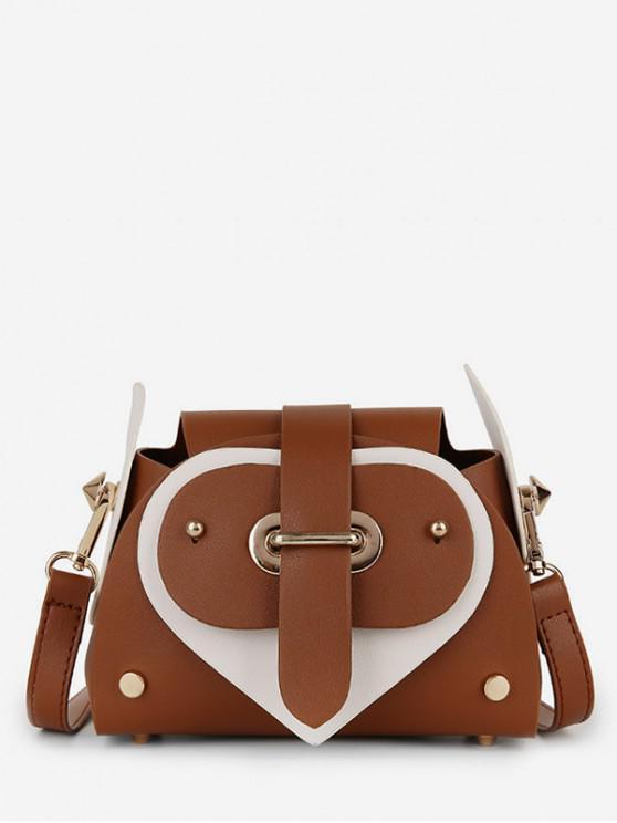ladies Heart Color Block Cross Body Bag - BROWN