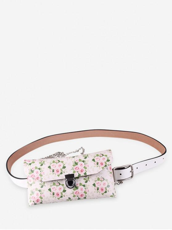 outfits Floral Print Adjustable Fanny Pack - BEIGE