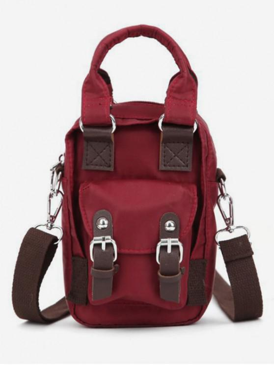 fashion Double Buckle Design Crossbody Bag - RED WINE