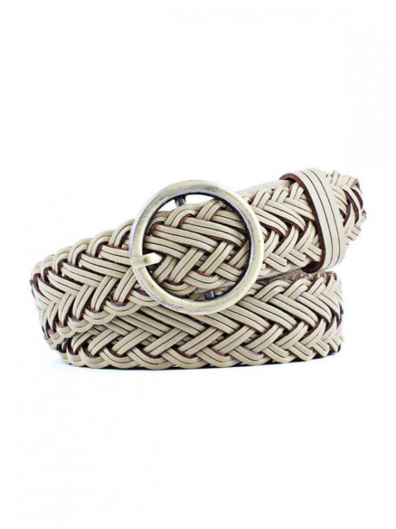 ladies Round Ring Design Woven Belt - KHAKI
