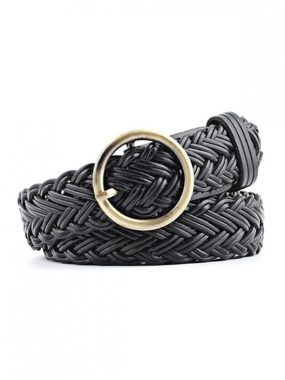 outfits Round Ring Design Woven Belt - BLACK