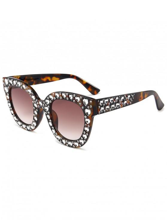 shops Chic Rhinestone Inlaid Sunglasses - LEOPARD