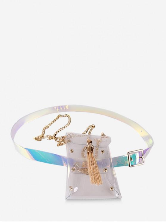 trendy Floral Print Tassel Design Fanny Pack - TRANSPARENT