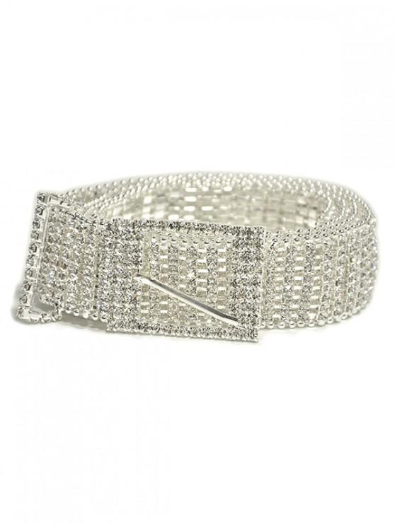 women's Wide Noble Buckle Rhinestone Belt - WHITE
