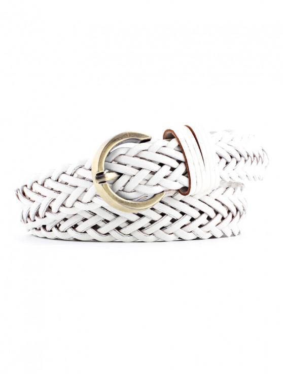 ladies Solid Color Decoration Waist Belt - WHITE
