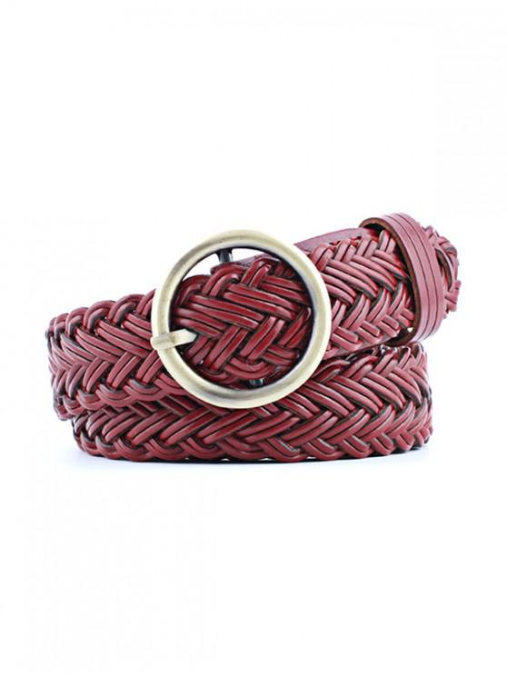 fancy Round Ring Design Woven Belt - RED WINE