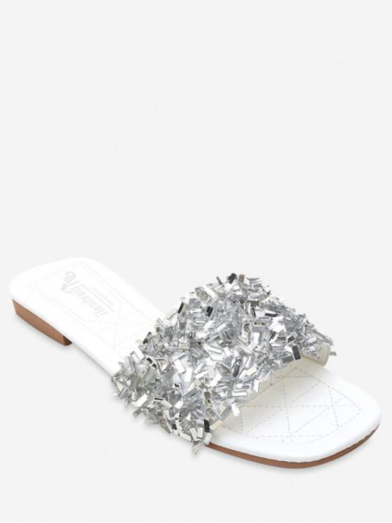 unique Creative Sequin Flat Slippers - SILVER EU 36