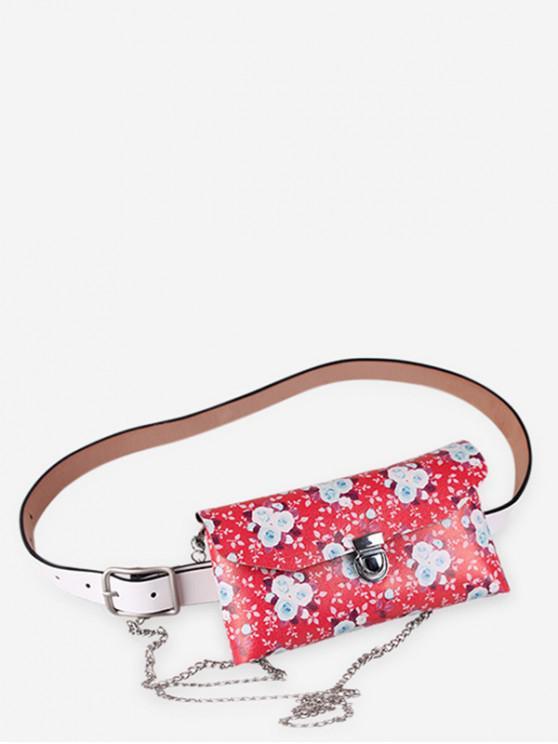 buy Floral Print Adjustable Fanny Pack - RED