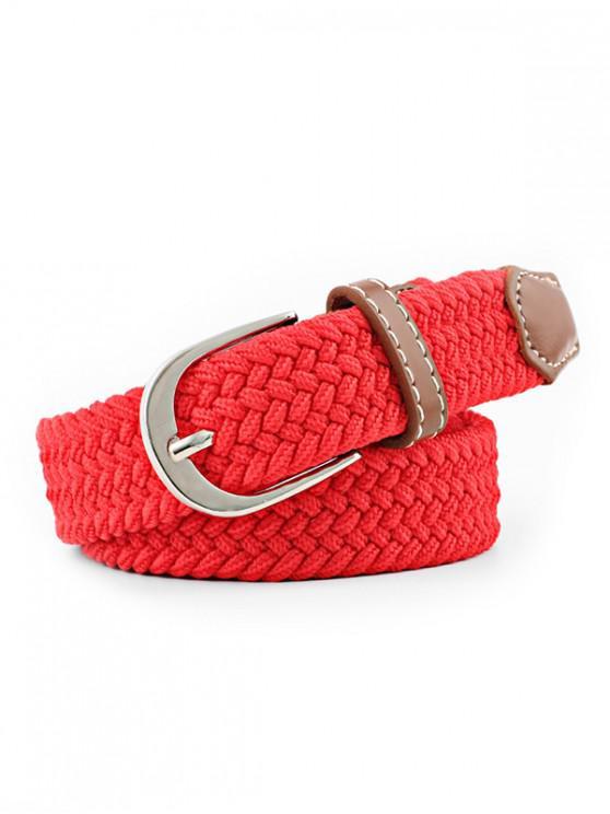 Cinturón de hebilla con hebilla elástica de trenza - Rojo