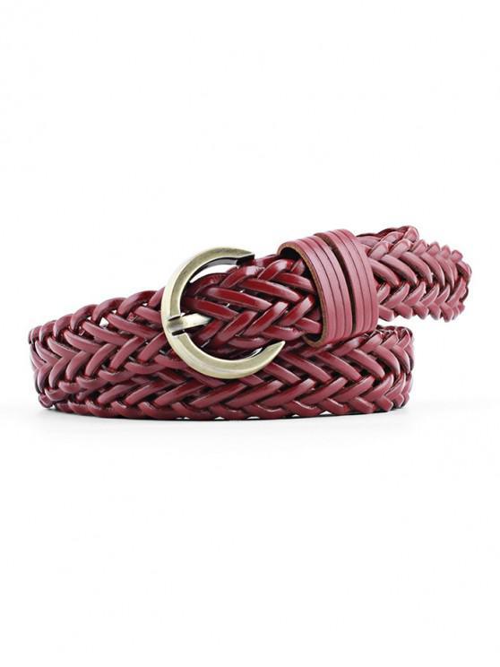 affordable Solid Color Decoration Waist Belt - RED WINE