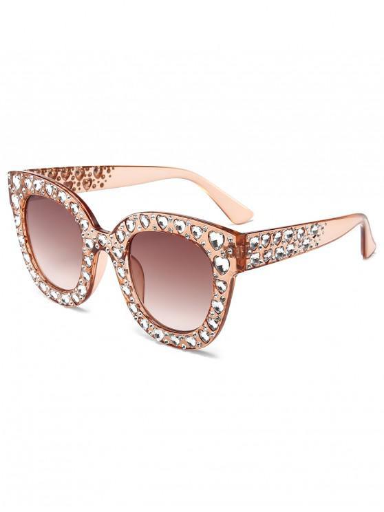 women Chic Rhinestone Inlaid Sunglasses - CHAMPAGNE GOLD