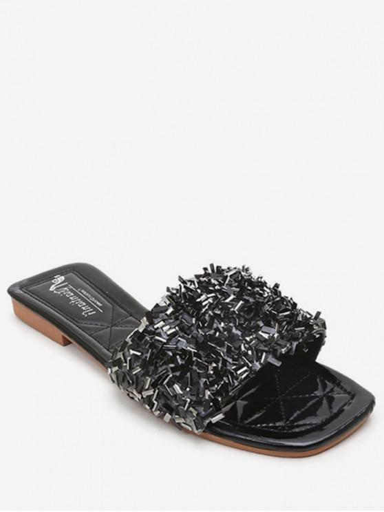 shops Creative Sequin Flat Slippers - BLACK EU 37