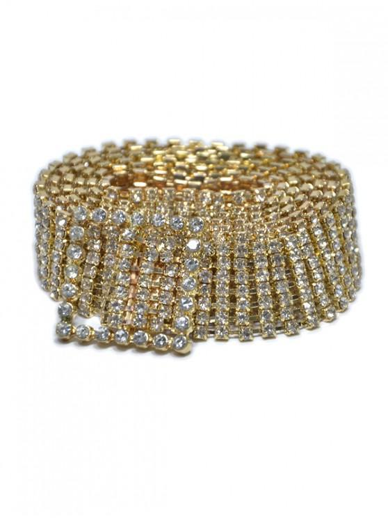 Cadena Cuadrada de La Hebilla de La Cintura del Rhinestone - Oro