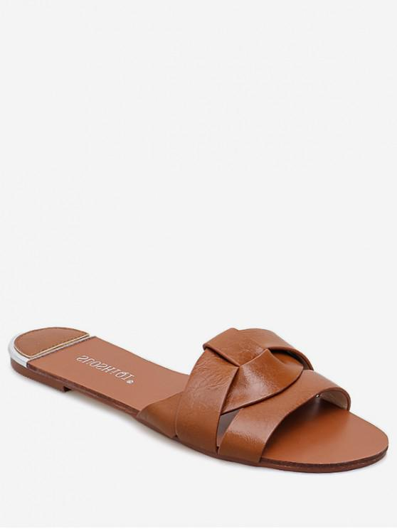 buy Simple Cross PU Leather Slides - LIGHT BROWN EU 38