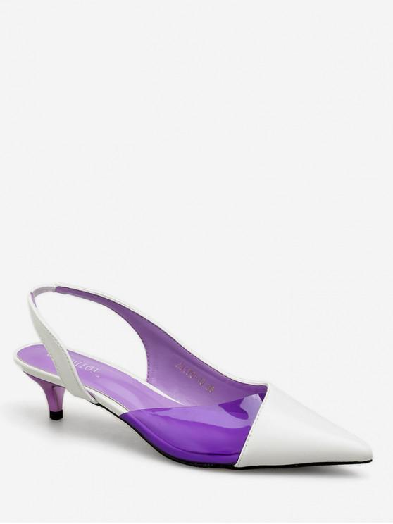 Sandalias de punta puntiaguda en contraste de color - Blanco EU 35