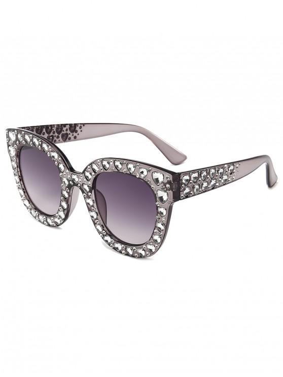 sale Chic Rhinestone Inlaid Sunglasses - SMOKEY GRAY