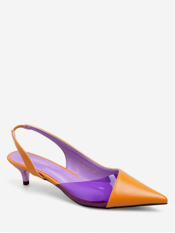 Sandalias de punta puntiaguda en contraste de color - Marrón Claro EU 35