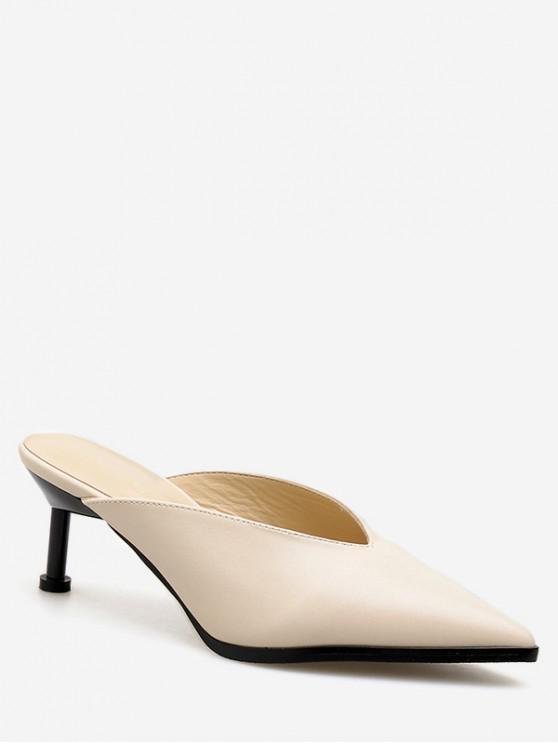 lady Pointed Toe V Cut Stiletto Heel Slides - APRICOT EU 37
