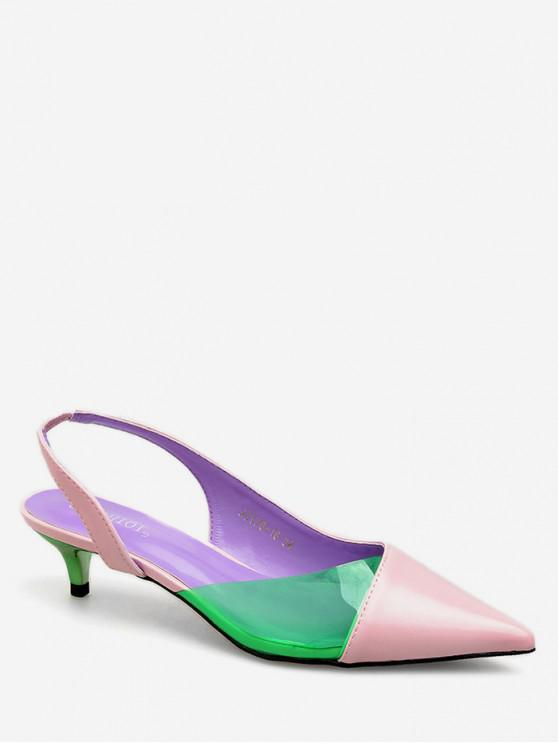 shops Contrast Color Patch Pointed Toe Sandals - PINK EU 38