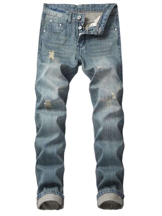 fashion Long Straight Casual Retro Ripped Jeans - BLUE GRAY 34