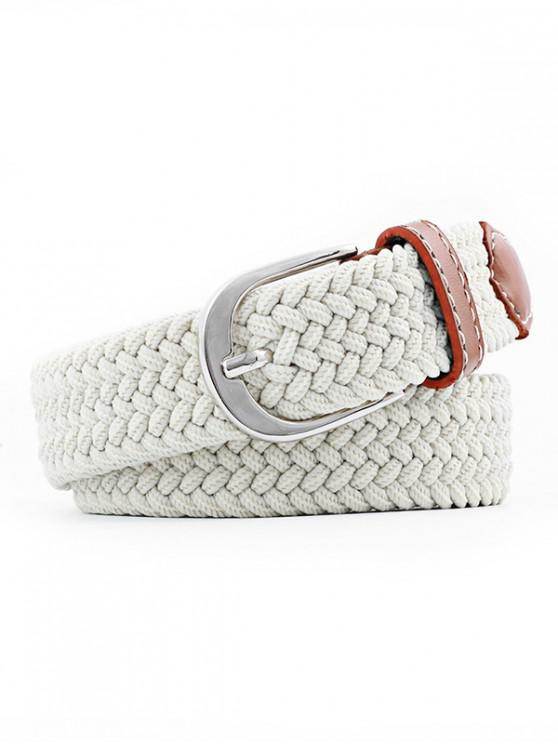 women Braid Elastic Pin Buckle Belt - BEIGE