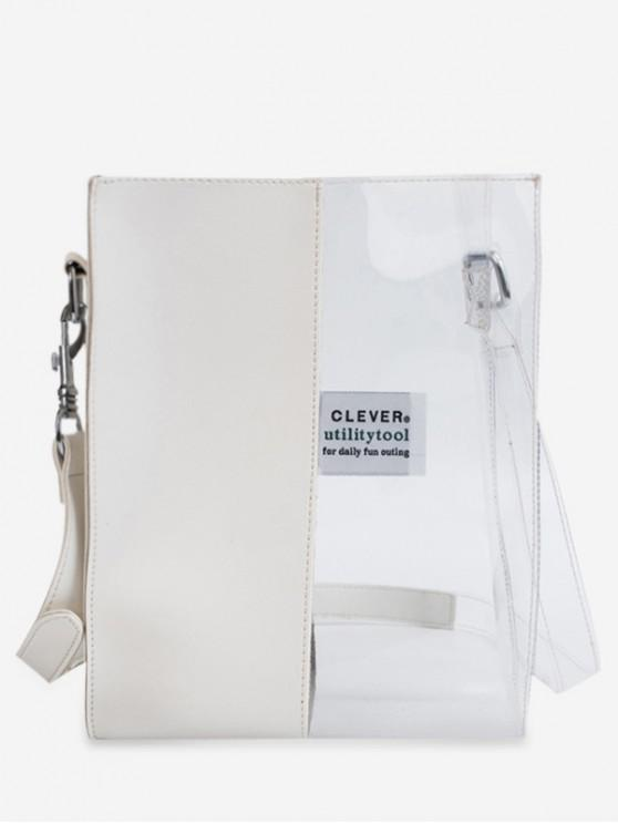unique Transparent Character Pattern Jointed Shoulder Bag - WHITE