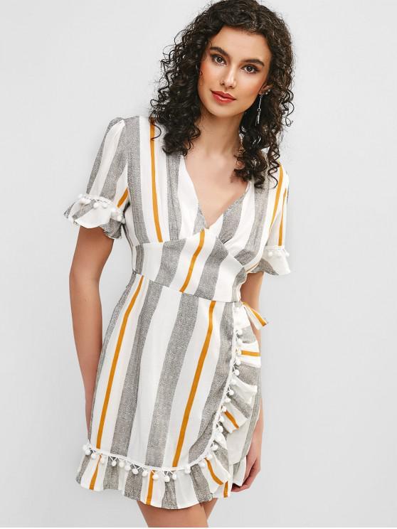 women's Stripes Overlap Ruffles Mini Dress - MULTI XL