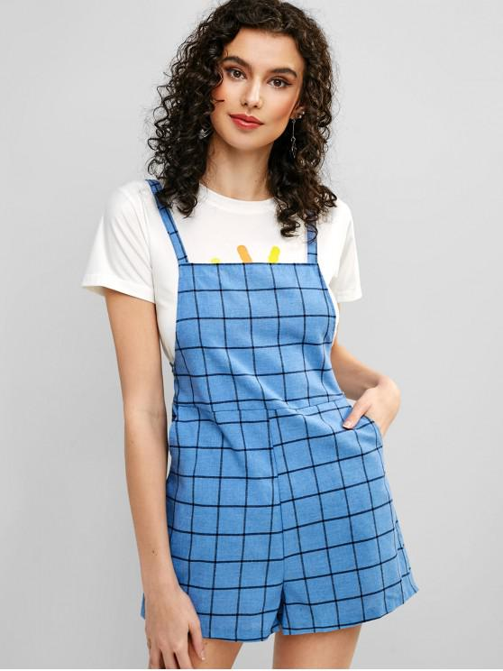 d1904a1c5b10 27% OFF   NEW  2019 Pockets Checked Overall Romper In DENIM BLUE