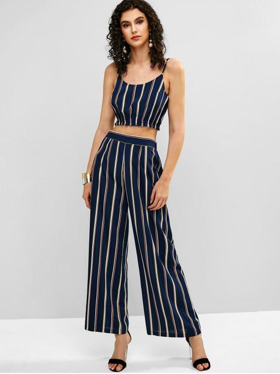 chic ZAFUL Stripes Top And Wide Leg Pants Set - DEEP BLUE S