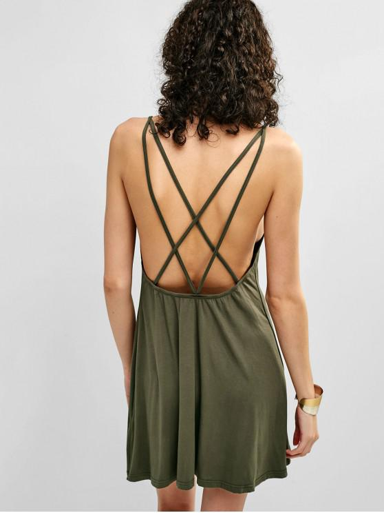 hot ZAFUL Criss Cross Mini Tank Dress - ARMY GREEN S