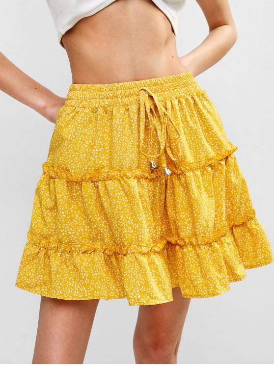 women Flounce Frilled Mini A Line Skirt - YELLOW XL