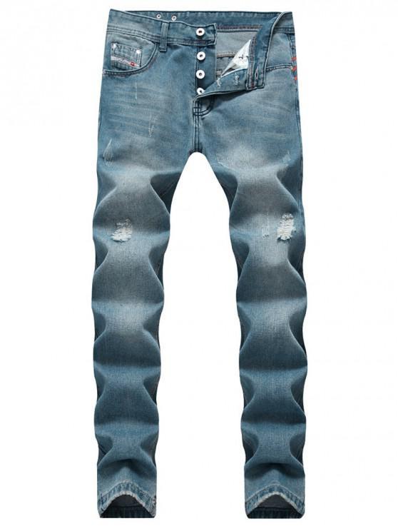 new Long Scratch Destroy Wash Jeans - BLUE GRAY 36