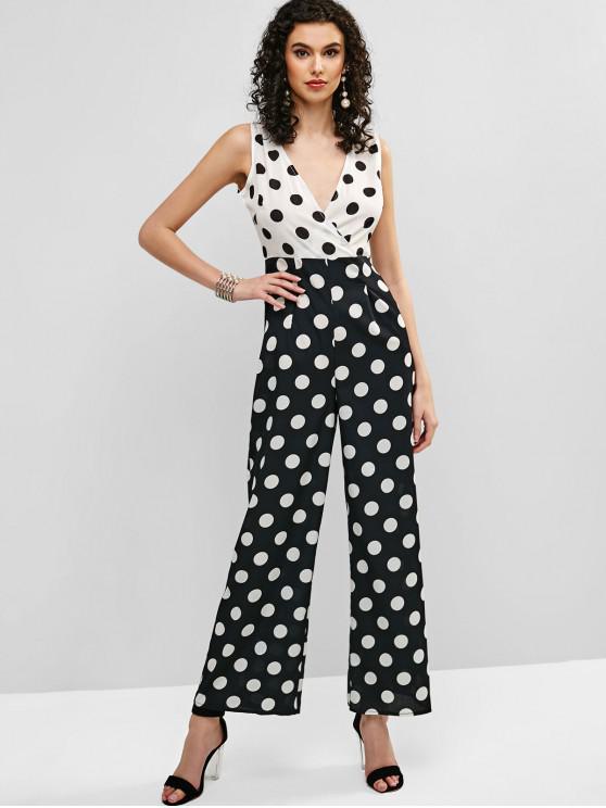 6725f624d1 29% OFF] 2019 Polka Dot Sleeveless Wide Leg Jumpsuit In WHITE | ZAFUL