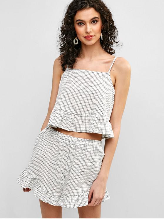 fashion ZAFUL Plaid Ruffles Cami Top And Shorts Set - WHITE L