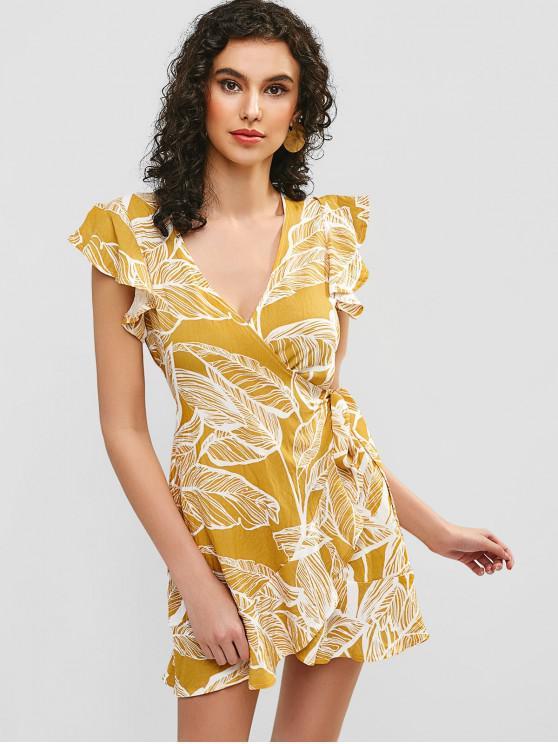 fancy Leaves Print Ruffles Wrap Dress - YELLOW S