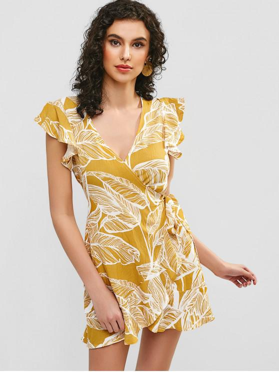 hot Leaves Print Ruffles Wrap Dress - YELLOW L