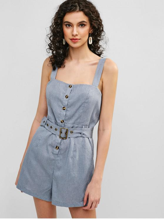 trendy ZAFUL Polka Dot Buttoned Belted Romper - BLUE GRAY M