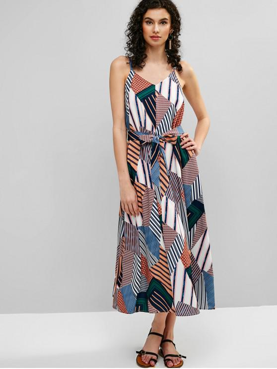 fancy Belted Printed Cami Maxi Dress - MULTI M