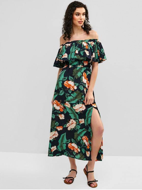 outfit Floral Overlay Slit Off Shoulder Tube Dress - GREEN L