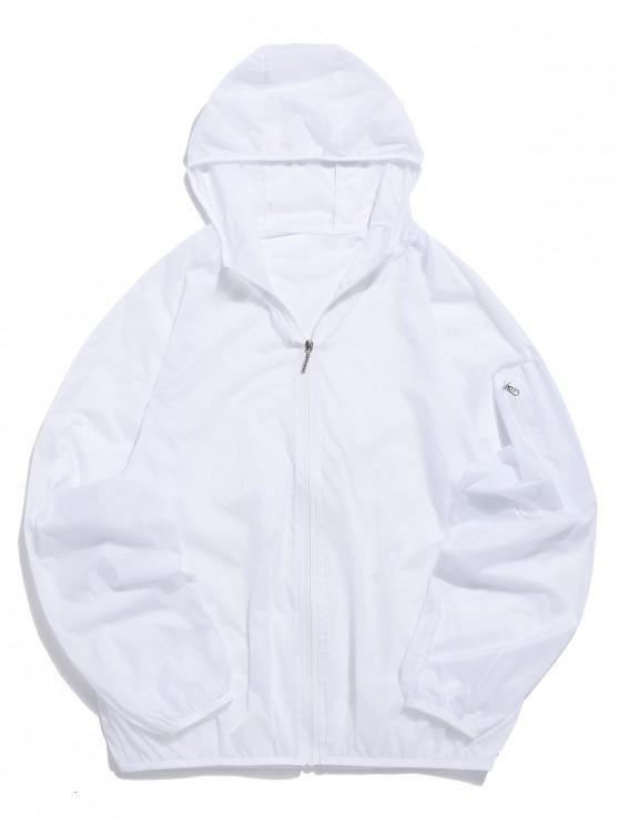 online Raglan Sleeves See-through Anti Sun Hooded Jacket - WHITE M