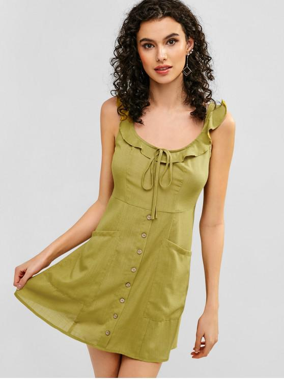 sale ZAFUL Tie Ruffle A Line Dress - GOLDENROD L