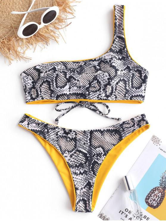 outfit ZAFUL Snakeskin One Shoulder Reversible Bikini Set - MUSTARD M
