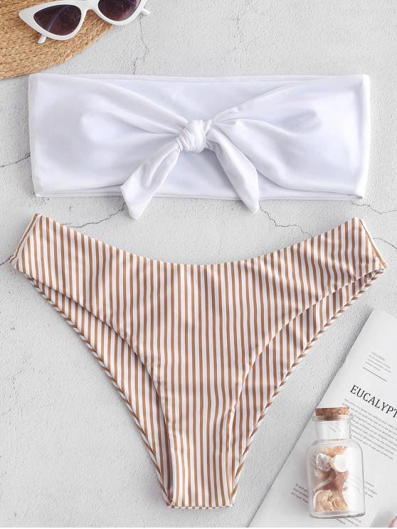 chic ZAFUL Striped Tied Bandeau Bikini Set - MULTI-A M