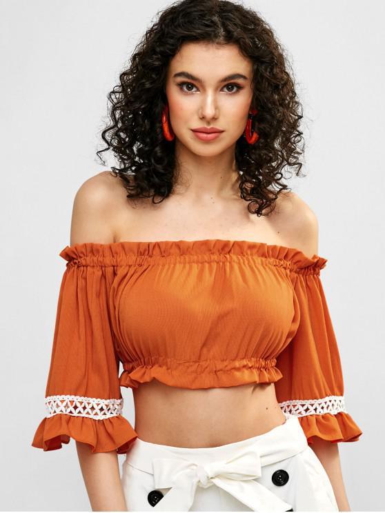 trendy Crochet Panel Off Shoulder Crop Blouse - PUMPKIN ORANGE ONE SIZE
