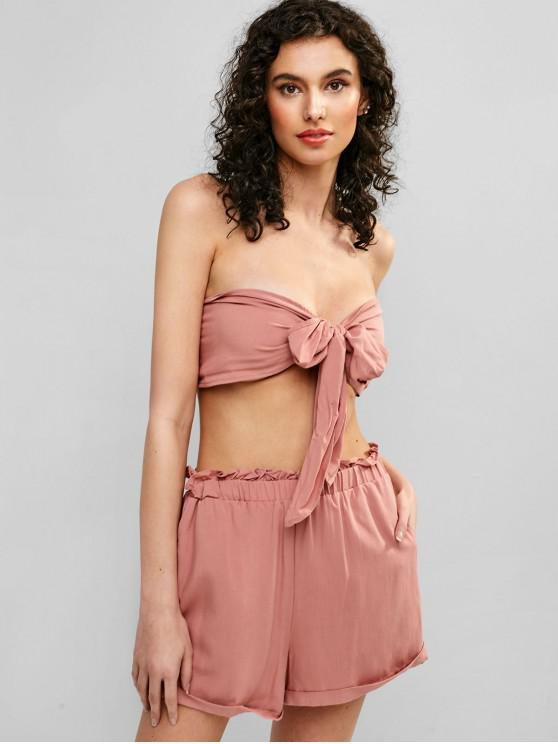 womens ZAFUL Tied High Waisted Rolled Shorts Set - PINK M
